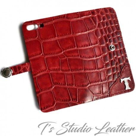 Red Alligator Leather Phone Case Crocodile Croc Embossed Wallet Wallet Fashion Leather Phone Case Tooled Leather Phone Case