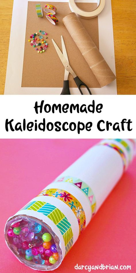 Fun DIY Kaleidoscope Kids Craft Tutorial [Pictures] Looking for a fun kids project? Inspire creativity with this easy homemade kaleidoscope craft using a paper towel tube (or another cardboard tube), beads, and aluminum foil. Fun Projects For Kids, Fun Crafts For Kids, Craft Activities For Kids, Diy For Kids, Toddler Art Projects, Summer Crafts For Preschoolers, Kids Fun, Children Crafts, Easy Preschool Crafts