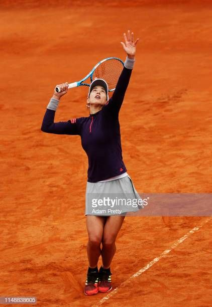 Garbine Murguruza Of Spain Serves During Her First Round Match Against Saisai Zhang Of China During Day Two Of The International Bnl D It First Round Spain One