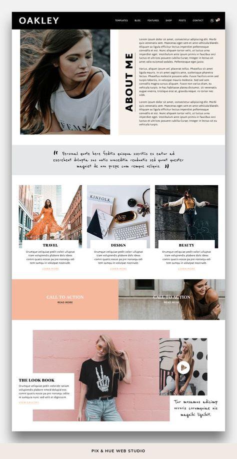 Oakley WordPress Theme | Feminine website design, Unique wordpress themes, Brand photography inspira