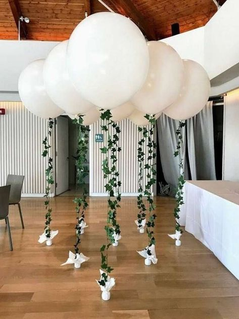 A small wedding can still have major décor impact with BIG balloons and a beaut. - A small wedding can still have major décor impact with BIG balloons and a beautiful light and airy - Diy Wedding Reception, Barn Wedding Decorations, Small Wedding Decor, Small Weddings, Diy Event Decorations, Wedding Table, Prom Decor, Diy Baby Shower Decorations, Wedding Parties