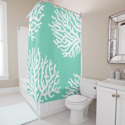 Coastal White Sea Coral Coral Pink Shower Curtain Zazzle Com