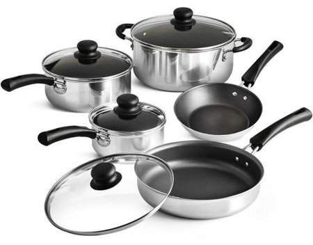 Tramontina 9 Piece Non Stick Cookware Set Red Walmart Com Cookware Set Nonstick Cookware Dishwasher Safe Cookware