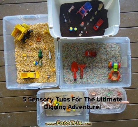 dig, toddler, rpeschool, cobnstruction, play, sensory tub, sensory tubs, digging, sand box, construction games, digging games, corn sensory, coffee sensory, play in the dirt, homeschool preschool, bilingual homeschool,