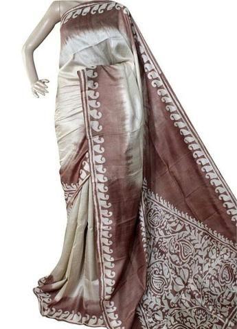 Best quality pure Bishnupuri silk sari from Bengal designer print with blouse