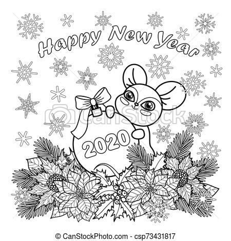 Winter Holiday Coloring Page With Mouse Symbol 2020 Winter Happy New Year 2020 With In 2020 Coloring Pages Winter Minnie Mouse Coloring Pages New Year Coloring Pages
