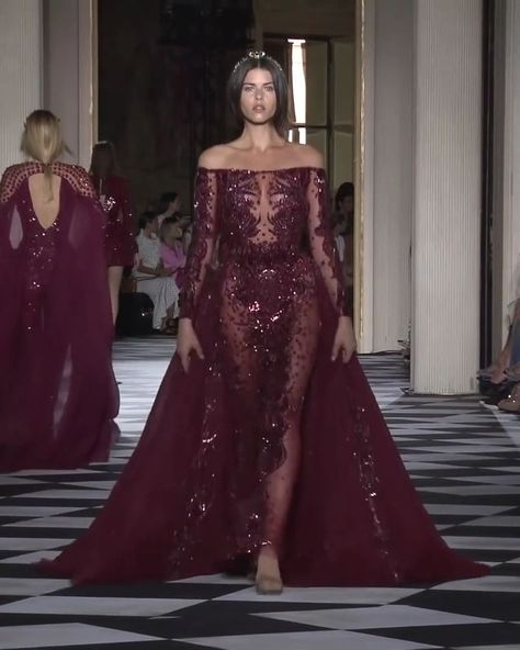 Gorgeous Embroidered Burgundy Off Shoulder Mermaid Evening Dress / Evening Gown with Long Sleeves. Couture Fall Winter 2018/2019 Collection Runway by Zuhair Murad   -  #eveningdresses #eveningdresses2019 #eveningdressesBohemian #eveningdressesCasual #eveningdressesonline #eveningdressesPattern #eveningdressesSummer