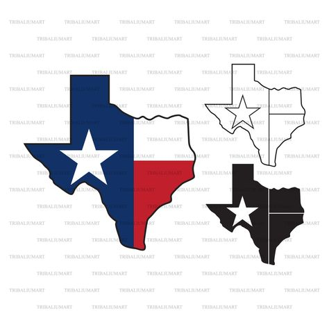 Texas state map and flag (The Lone Star State). Cut files for Cricut. Clip Art (eps, svg, pdf, png, dxf, jpeg).
