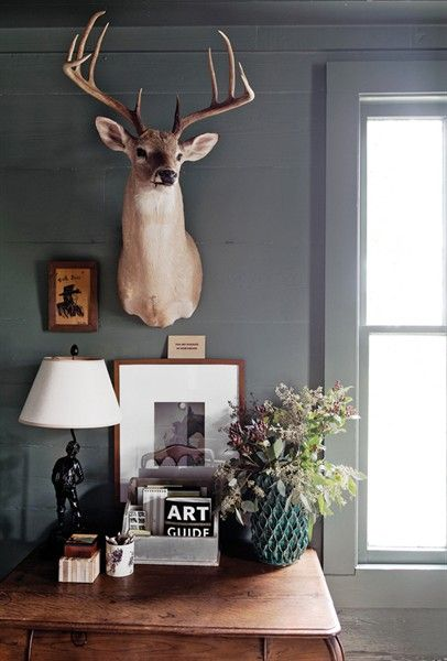 Love the look of this though I could never put a real animal head on my wall