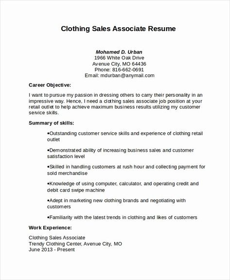 Retail Sales Associate Resume Example Lovely Sales Associate