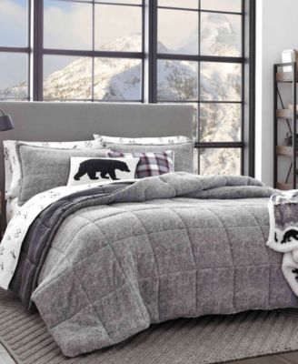 Eddie Bauer Sherwood Grey Comforter Set Full Queen Grey