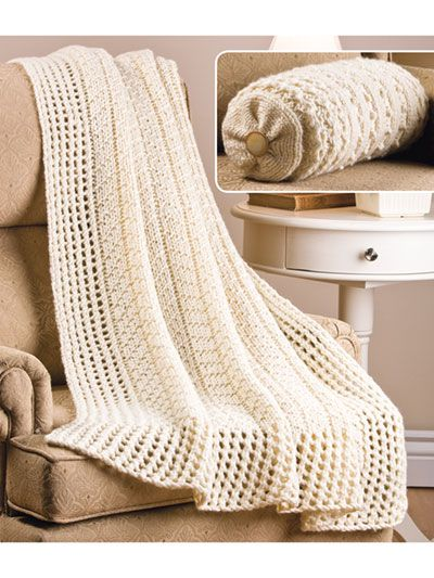 Curl up with a good book and this beautiful afghan and bolster set featuring lovely, stylish textures. For the afghan knit with 927 yds #5 bulky-weight yarn; for the bolster knit with 309 yds #5 bulky-weight yarn using U.S. size 11/8mm 32