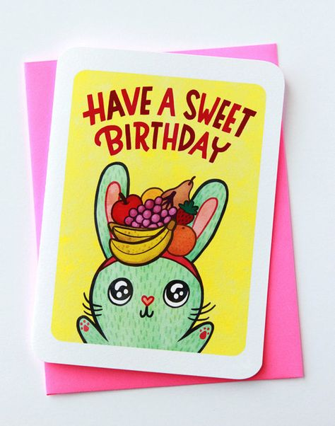 Have A Sweet Birthday Bunny Cute Birthday Card For Kid Friend