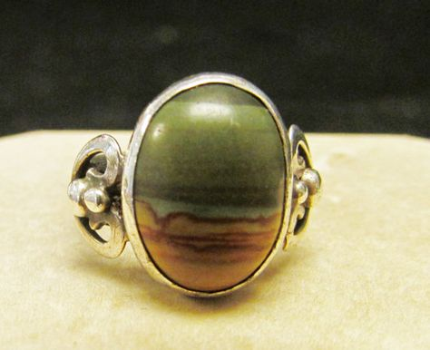 Ancient Handmade Jewelry Brown Coffee Jasper Sterling Silver Overlay Ring Size 6.5 US