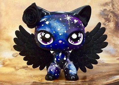 Short Hair Cat Galaxy Kitty Hand Painted Mini Pet Shop With Free Accessories In 2020 Lps Pets Lps Littlest Pet Shop Custom Lps