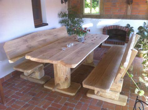 Rustikale Holz Sitzgarnitur Gartengarnitur Birke Massiv 3 Teilig
