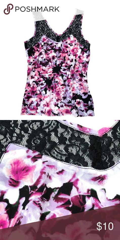 Lace & Floral Camisole Tank Top NEW   Soft Floral Print Top With Great Flow!  • Pullover Application  • Polyester, Nylon, Spandex • Front & Back Identical Attention Tops Camisoles