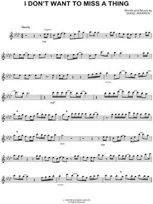 Aerosmith I Don T Want To Miss A Thing Sheet Music Flute Solo