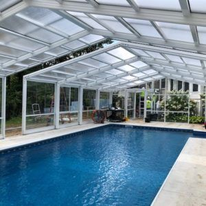 Maine Pool Enclosure Manufactured By Roll A Cover Intl Residential Pool Pool Enclosures Pool