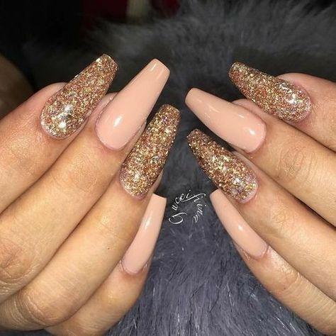 Ballerina Nails. Gold Glitter Nails. Peach Nails. Acrylic Nails. Gel Nails.