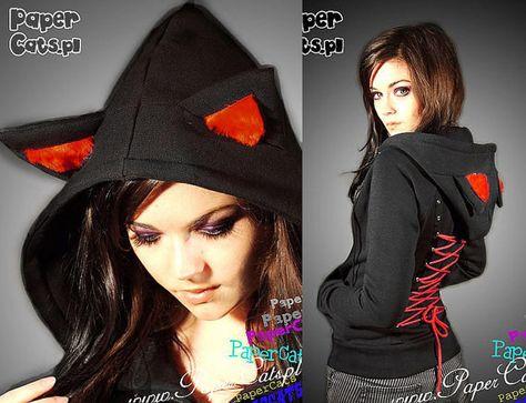 PaperCatsPL - Hoodie black cat ears red corset kawaii