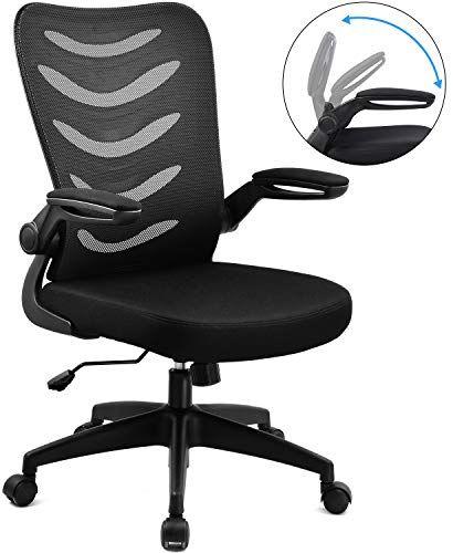 Comhoma Chaise De Bureau Fauteuil Siege Ergonomique Hauteur Reglable Accoudoirs Pliables Noir Chaise Bureau Siege Ergonomique Accoudoir