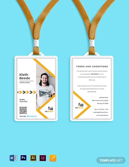 Basic Construction Id Card Template Free Pdf Pdf Word Psd Indesign Apple Pages Illustrator Id Card Template Card Template Card Templates Free