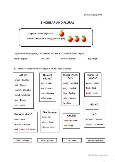Nouns Singular Plural Esl Worksheet By Jhansi In 2021 Singular And Plural Plurals Plurals Worksheets