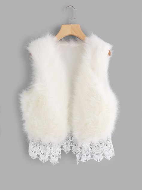 Shop for Shein Contrast Lace Hem Faux Fur Vest at ShopStyle. Fashion Terminology, Girl Outfits, Fashion Outfits, Steampunk Fashion, Gothic Fashion, Black Faux Fur Coat, Fur Clothing, Faux Fur Vests, Fur Jackets