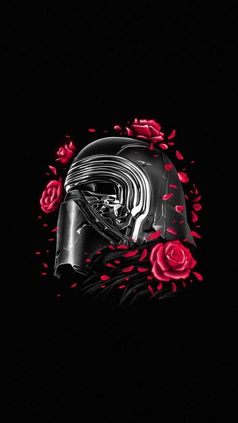 Kylo Ren, helmet and roses, Star Wars, minimal, 1440x2560 wallpaper