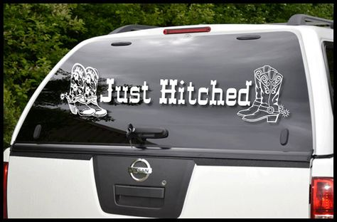 Just Hitched Car Decal Vinyl Lettering WD Car Graphics - Custom vinyl decals for car hoodsowl full color graphics adhesive vinyl sticker fit any car hood