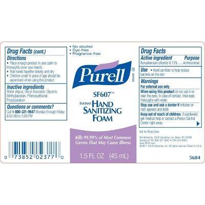 Purell Instant Hand Sanitizing Foam 1 5 Fl Oz 3ct Hand