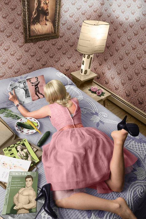 For Sale on - Pages of a Magazine (Modern Photograph of Blonde Housewife in Pink Dress), C Print by Newbold Bohemia. Offered by Carrie Haddad Gallery.