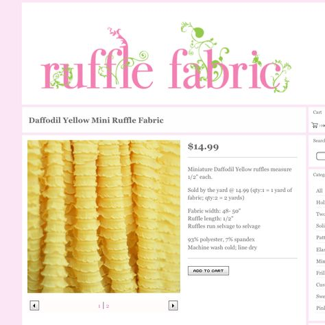 Yellow ruffle fabric