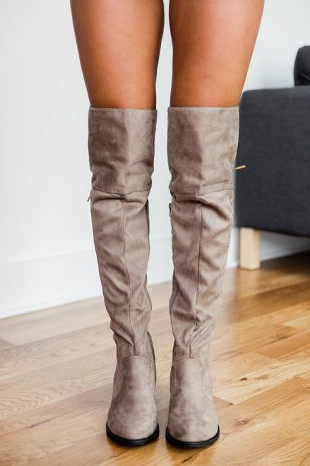 The Janet Taupe Knee High Boots   Taupe