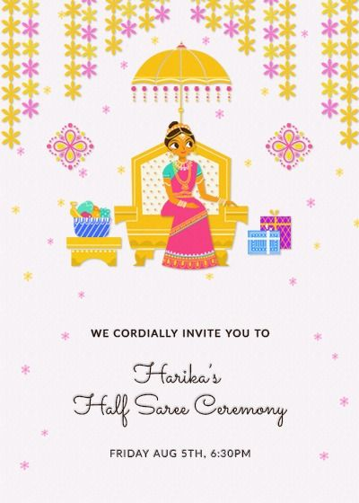 Traditional Halfsaree Invitation Invites Half Saree Function