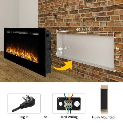 Puraflame Alice 48 Recessed Electric Fireplace Wall Mounted