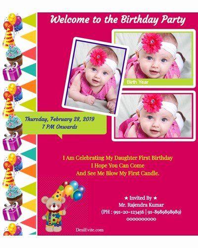 Editable 1st Birthday Invitation Card Free Download Luxury Free 1st Birthday In First Birthday Invitation Cards Birthday Card Template 1st Birthday Invitations