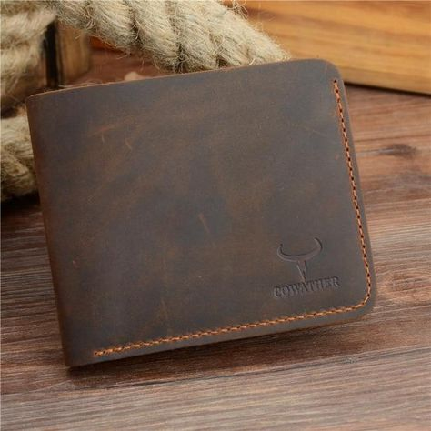 COWATHER Crazy horse leather men wallets Vintage genuine leather wallet for men cowboy top leather thin to put free shipping - coffee cross