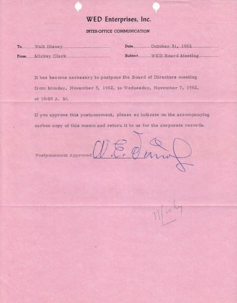 Walt Disney Signed WED Imagineering Memo Disney Pinterest - inter office communication letter