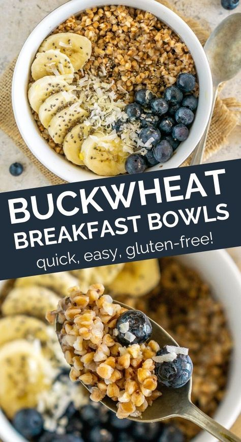 Buckwheat Breakfast Bowls - an easy gluten free breakfast recipe that takes only minutes to make! This buckwheat r Gluten Free Recipes For Breakfast, Gluten Free Breakfasts, Brunch Recipes, Dinner Recipes, Buckwheat Recipes, Porridge Recipes, Gluten Free Porridge, Breakfast Porridge, Healthy Foods