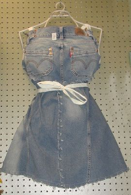 Denim Apron: Make cool and cute aprons from denim; this one comes from G B. Ahrens and its made from old blue jeans and other old denim garments.