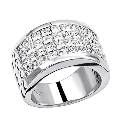 Bishilin Silver Plated Five Cubic Zirconia Inlaid Wedding Rings For A Woman Size 9