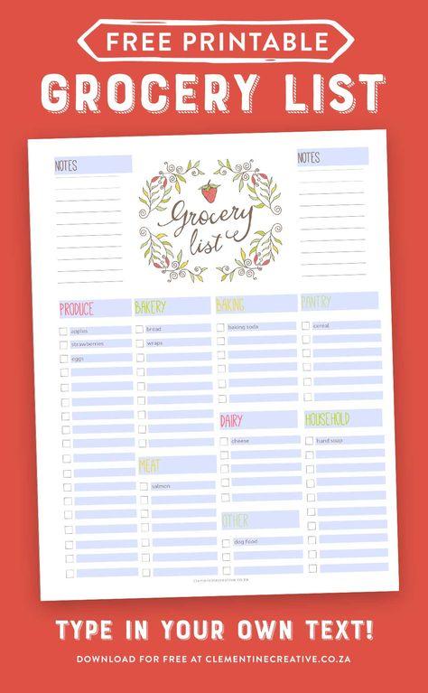 Free Editable Grocery List {Printable PDF} printable calendars