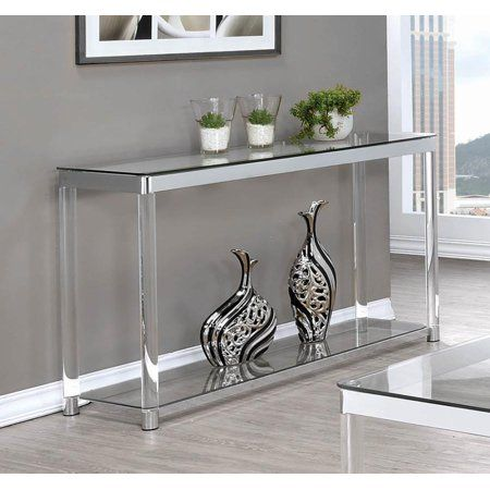 Contemporary Chrome Sofa Couch Table 720749 Size 75 Inchw X