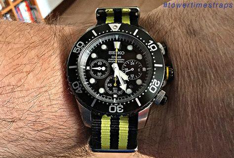 Seiko SSC021P1 Solar Chronograph Diver & NATO G10 B12 Nero Giallo