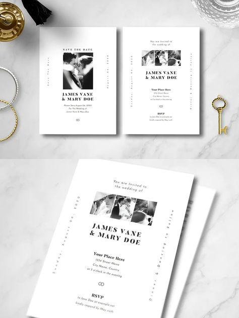 Simple Wedding Invitation Template AI, PSD