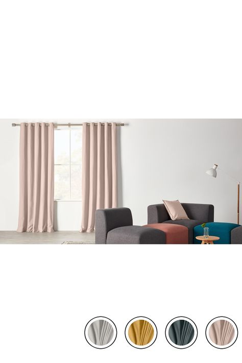 Wespa Lined Cotton Eyelet Pair Of Curtains Soft Pink 168 X 182cm Curtains Curtain Lights Grey Curtains