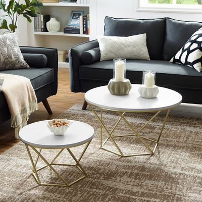 Geometric White Faux Marble Gold Nesting Coffee Tables Modern