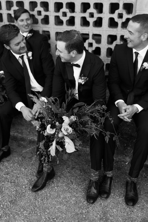 This couple incorporated very subtle hints of Casablanca to their wedding theme and it turned out beautifully. From the florals to the groom and groomsmen wardrobe, every detail was magic. Looking for more inspo? Save this pin and click through to check out Meghan Hemstra's website, featuring gorgeous wedding photography and plenty of inspo from wedding styles to wedding design. #casablanca #weddingtheme #weddingparty #groomsmen #blackandwhite #classic
